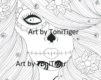 Instant Digital Download Coloring Page Flower Sugar Skull Girl, Original Day of the Dead Art, Dia De Los Muertos, Adult Coloring Page