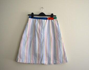 Vintage White & Rainbow Carnival Stripe Skirt // Summer Skort // Hipster // Festival //  Medium - 1980s