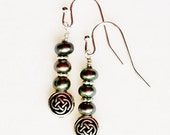 Antiqued Silver Celtic Knot Earrings with Light Green Freshwater Pearls