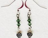 Celtic Dangle Heart Earrings with Erinite (light green) Swarovski Crystals