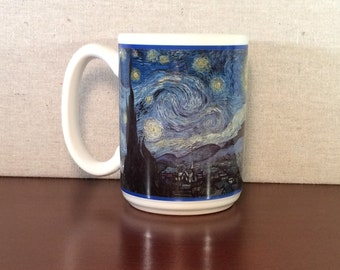 Vincent Van Gogh's Starry Night Design Mug, large American-made 15 ounce ceramic mug