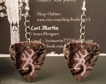 Mossy Oak Camo with light pink deer symbol guitar pick earrings buck jewelry country farm southern girl gift