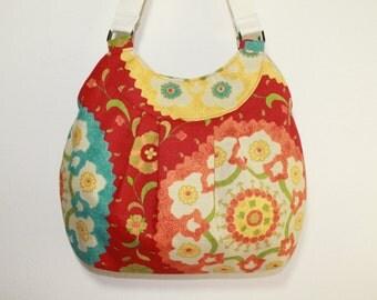 Red Floral Damask Pleated Hand bag Shoulder purse