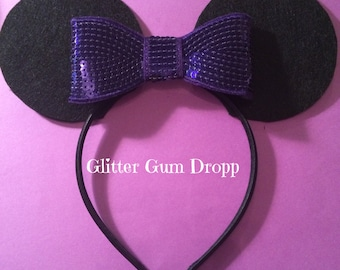 Minnie Mouse Ear with Purple Sequin Bow Headband for Children to Adult