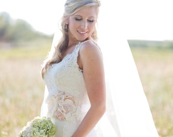 Gorgeous Cream Ivory Touches of Blush Bridal Sash Wedding Sash Pregnancy Maternity Sash Vintage Lace Dress