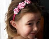Boutique Style Crochet Roses Headbands on Matching Satin Headband
