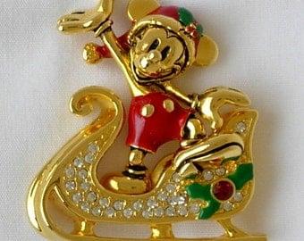 Vintage Signed Napier Mickey Mouse Santa Claus Sleigh Christmas Holiday Brooch Holly Enamel Gold Tone Rhinestones Enamel Early 90s Disney