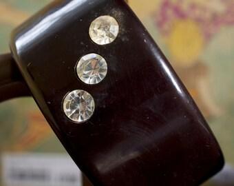 Chunky Black Plastic Bangle with Huge Rhinestones 60s Vintage
