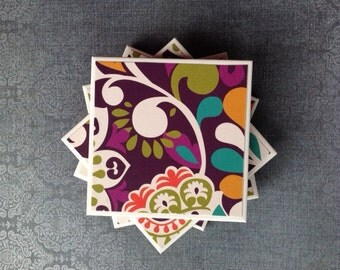 Coasters Vera Bradley, Plum Crazy Pattern, Purple, Blue, Orange, Green, and White, Tile, Set of Four