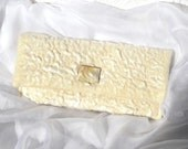 Cream Silk Velvet Clutch