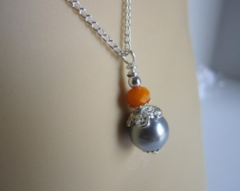 Grey and Orange Bridesmaid Necklace Fall Wedding Autumn Bridesmaid Gift Maid of Honor