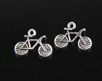 12 Little BICYCLE Charms Double Sided Antique Silver Tone Cycling Small Bike Charm Jewelry 17x19 mm NOTE  SIZE