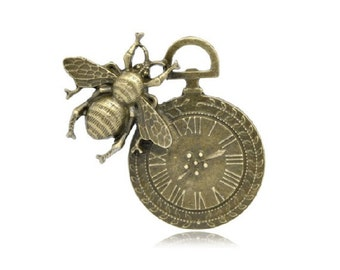 1 Large Bee Clock Pendant Jewelry Supplies Bronze TonePocket Watch Steampunk Craft 42x42 mm