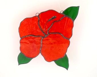 Red Stained Glass Flower, Window Suncatcher, Hibiscus Flower Decoration, Garden Art, Window Decor, Stain Glass, Unique Gifts for Women