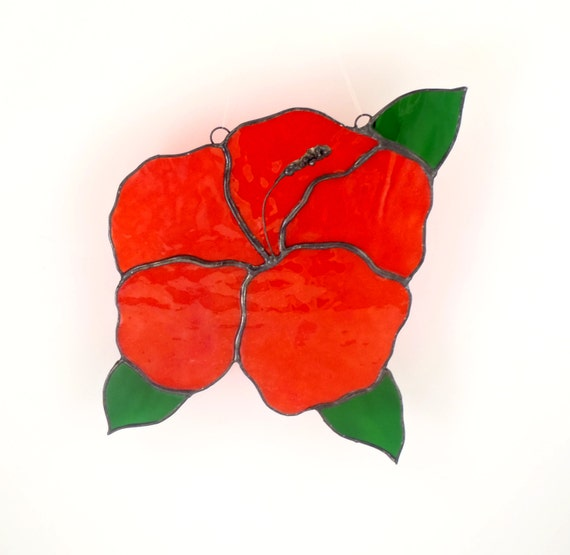 Red Stained Glass Flower, Window Suncatcher, Hibiscus Flower Decoration, Garden Art, Window Decor, Stain Glass, Unique Gifts for Women
