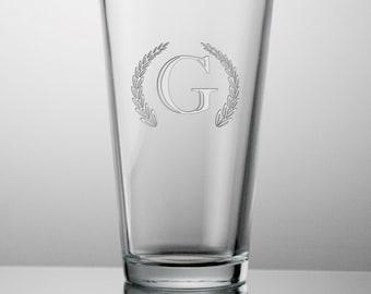 Engraved Monogrammed Beer Glass