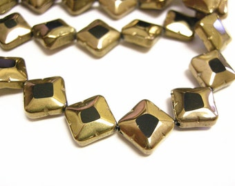 20pc 10mm copper plated  flat glass beads-9333