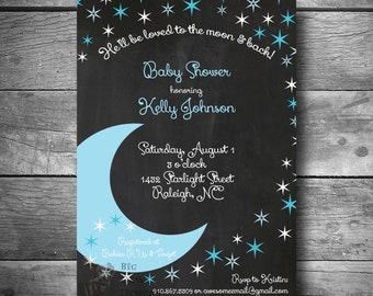 moon and stars baby boy shower invi tation to the moon and back theme