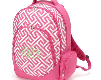 Pink Greek Key Backpack name or initial included