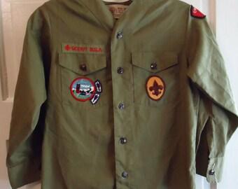 Vintage 1970s Boy Scout Uniform Shirt with Patches sz XS