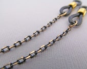 Black and gold eyeglasses chain - for men or for women -  Eye glass Chain - Reading Glasses Holder - Glasses Leash - Reading Glasses Chain