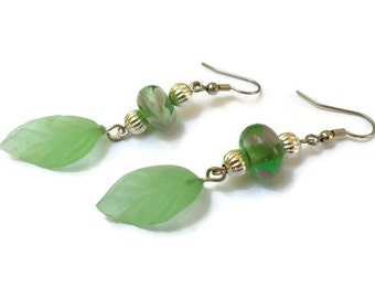 Light Green with Lavender Swirls Lampwork Bead and Silver Earrings with Leaf Dangle