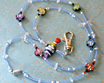 O o a k polymer clay ceramic glass beaded lanyard id - Bell gardens high school school loop ...