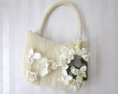 Vintage Pearl Beaded Flowergirl Bag, Milinery Flowers, Flower Girl Basket Alternative