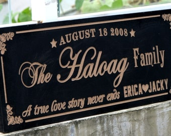 Personalized Family Name Sign Plaque Custom Made 8x22 engvared Family sign, wedding or anniversary gift 017