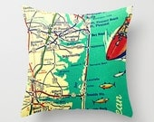New Jersey Pillow Cover 18x18, Jersey Shore Throw Pillow, NJ Vintage Map Art, Cool New Jersey Gift, Seaside Park, Point Pleasant, NJ Strong