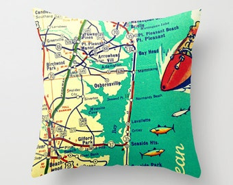 New Jersey Pillow Cover, New Jersey Map Art, Decorative Throw Pillow Jersey Shore, New Jersey Home, Seaside Park, Point Pleasant, NJ Strong