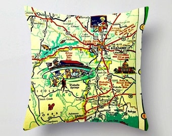Tallahassee Map Pillow, Decorative Throw Pillow Cover, Map Pillow, Florida State University, FSU Pillow, Grad Gift Map Decor ,  Dorm Decor