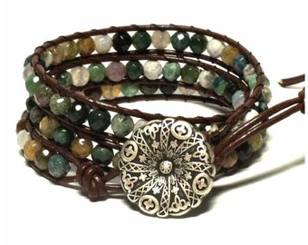 Leather Wrap Bracelet - Fancy Jasper Semi-Precious Stone, Dark Brown Leather - Bohemian Artisan Chic