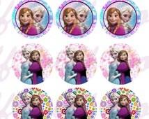 "INSTANT DOWNLOAD jpeg Disney Frozen Bottle Cap Images Flower theme 1"" Digital Sheet 4x6"" Hair Bow Centers, Stickers, Magnets,  party decor"