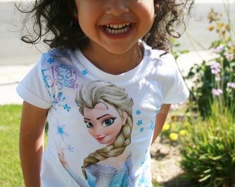 CLEARANCE!!!!! ELSA FROZEN shirt with two layers of ruffles tulle at bottom