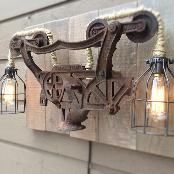 Rustic Light Industrial Chandelier Rope Pulley Yoke Wood Metal: Industrial Light Hay Carrier Lamp Wall Rustic Steampunk Cage