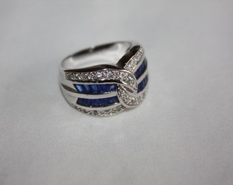 Sapphire Cocktail Ring Statement CZ  Vintage 1980s Sterling Silver Jewelry