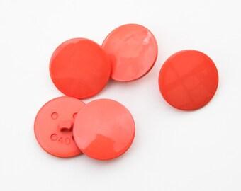 "12 Vintage 1"" Plastic Shank Buttons. Shiny Medium Orange Tone. Sewing, Crafts, Applique. 40L. Item 1945P"