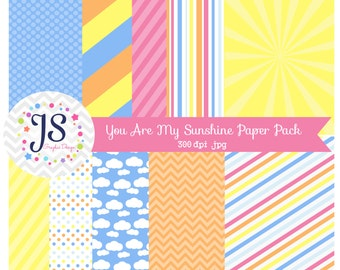 INSTANT DOWNLOAD,  you are my sunshine digital papers, printable backgrounds, commercial and personal use