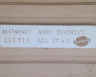 Mommy and Daddy's Little All Star Nursery Sports Football Boy Ball Sign Wall Rustic Decor gift present shower baby blue brown