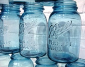 Vintage MASON JARS Aqua Blue BALL / Set of 8 Quarts / Wedding Bridal Decor / Retro Kitchen Jars / Farmhouse / Rustic / Cottage Chic