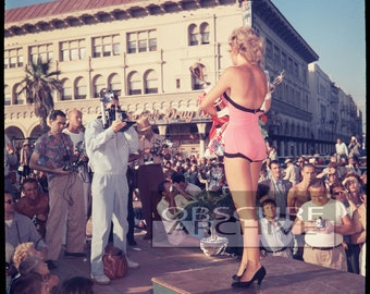 Camera Club Photographers at a Beauty Pageant - Late 1950's Los Angeles Beach Scene Photograph