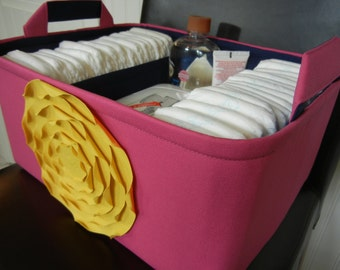 """Ex Large-Diaper Caddy-14""""x 10""""x 7""""(CHOOSE COLORS)Two Dividers-Fabric Storage Organizer-baby Gift-""""Mustard Yellow Rose on Hpt Pink"""""""