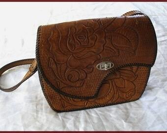 Vintage Tooled Leather Roses Purse Shoulder Bag