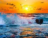 Ocean Waves Sunset -Florida Gulf Coast Beach -8x10 Fine Art Photograph -Home Decor