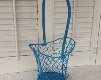 Chicken Wire Basket / Table Top Country French Basket / Teal Blue