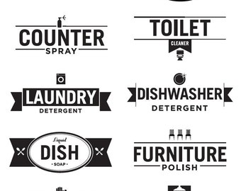 Custom Designed Household Cleaning Labels for Download & Print