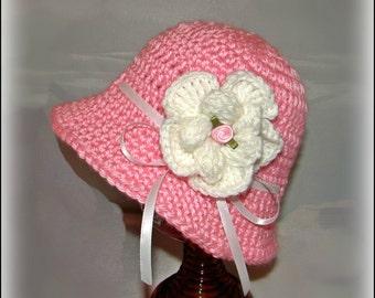 Crochet Girl infant sunhat with flower