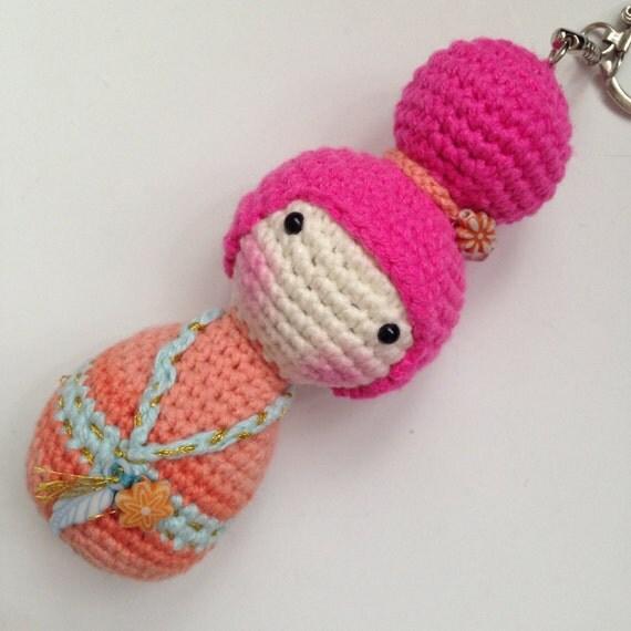 Amigurumi One Piece Doll : 1 PIECE Amigurumi Crochet Kokeshi Doll Bag Charm Geisha Doll