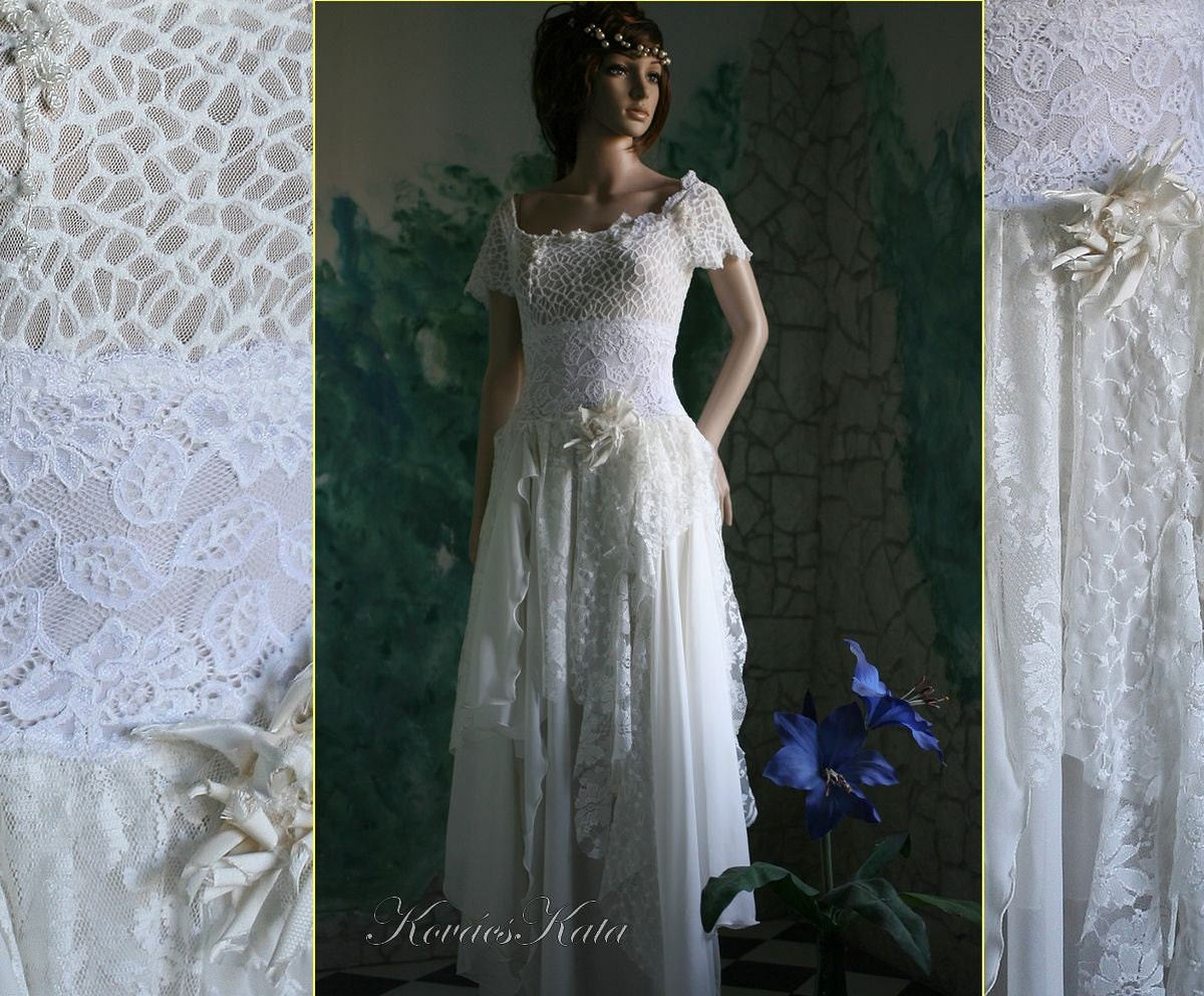 Boho Lace Wedding Dress Etsy : Bohemian ivory lace wedding dress isabella